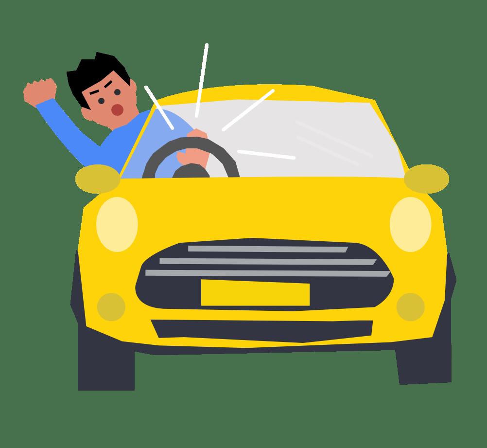 Man beeping car horn